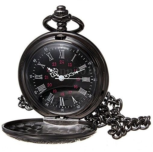 Reloj de bolsillo de collar, colgante, de cuarzo con números romanos de color negro
