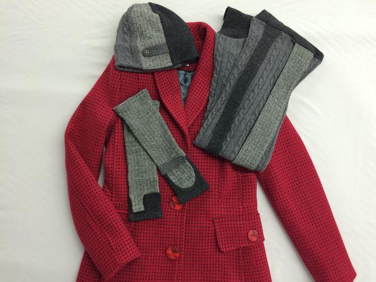 Grey wool knit herringbone accessories - hat, scarf & gloves by Jennifer Fukushima.  Red wool coat by Paul Ho.