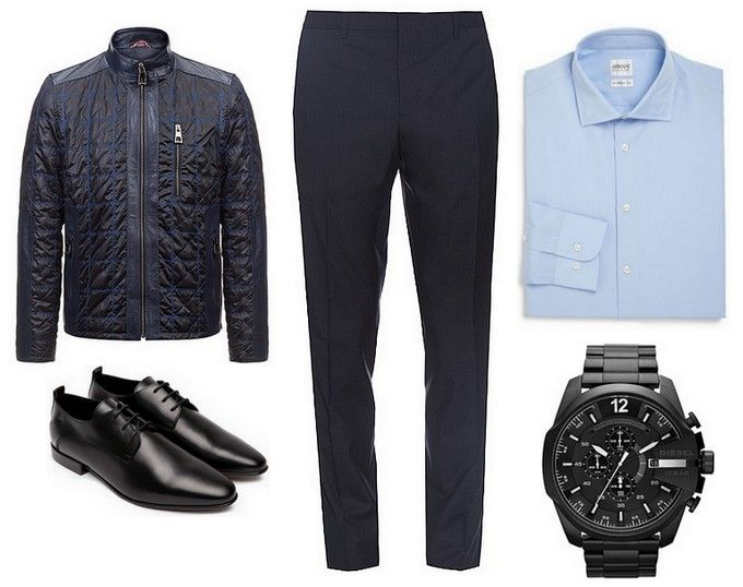 leather jacket - Carl Verssen, black shoes, watch, dark blue trousers, blue shirt
