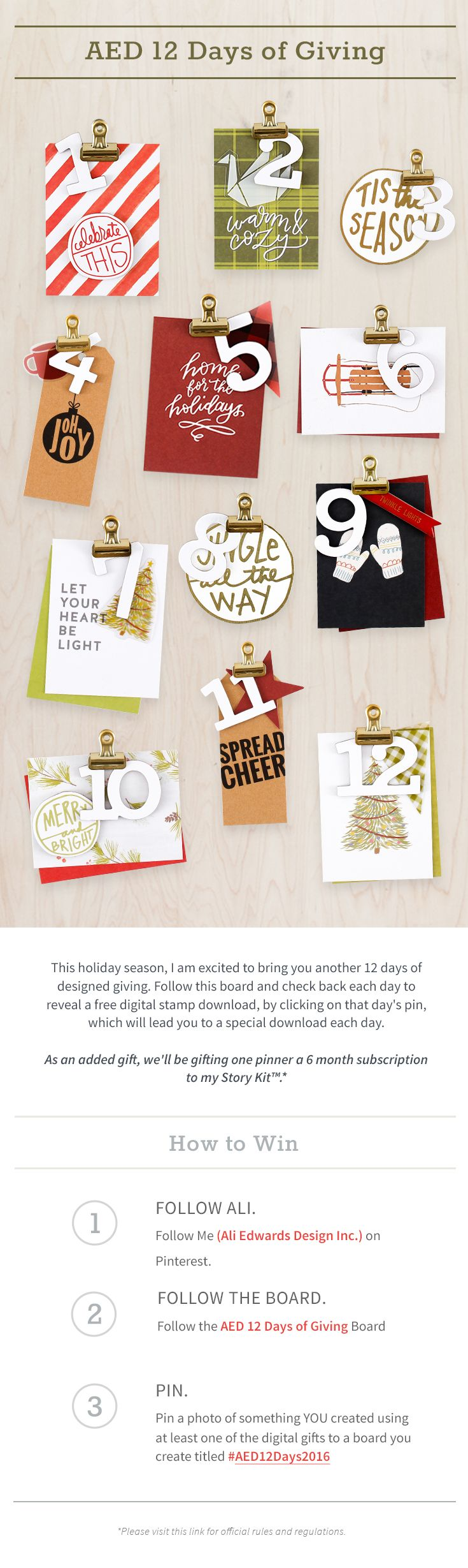Ali Edwards - AED 12 Days of Giving on Pinterest.