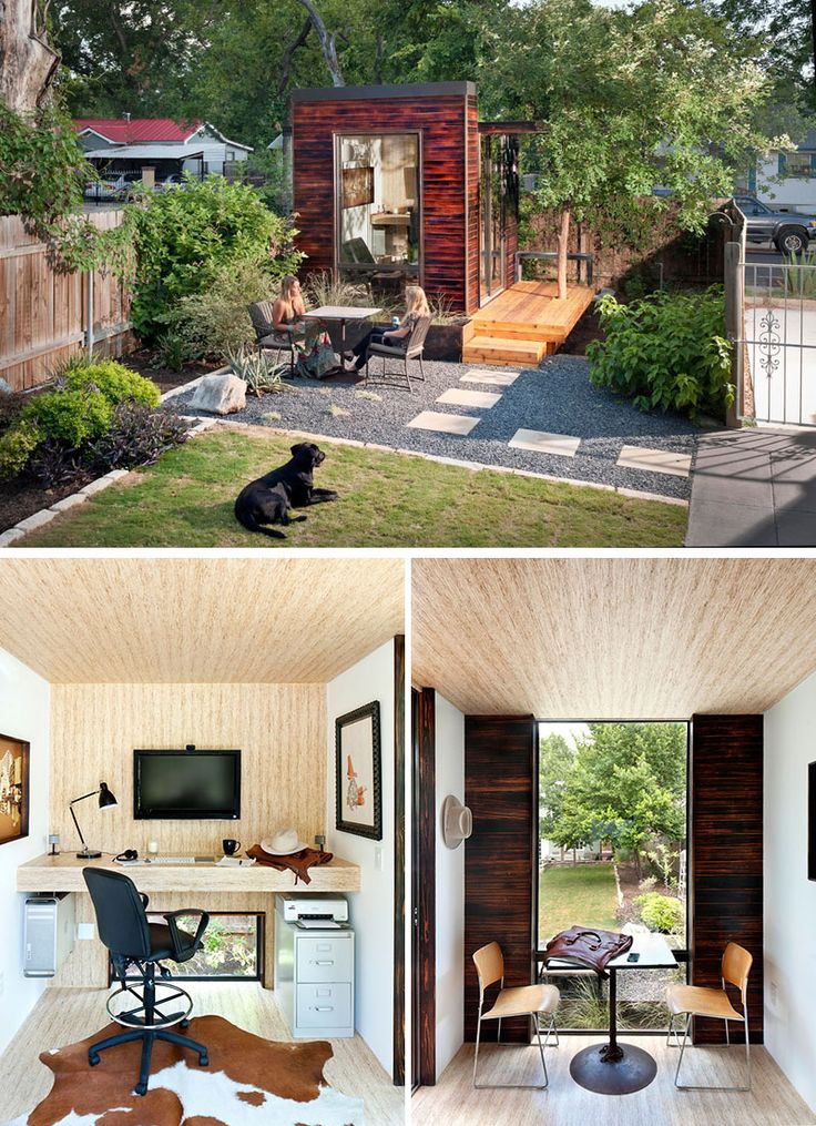 Tucked into the back corner of this backyard sits a small studio home office covered in charred wood siding.