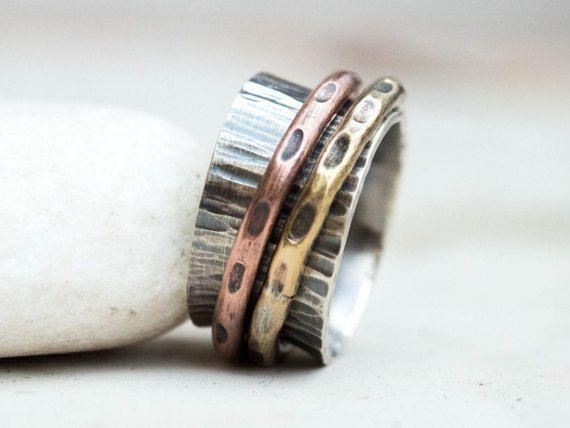 Mens spinner ring Kinetic spinnerMens worry ringMeditation