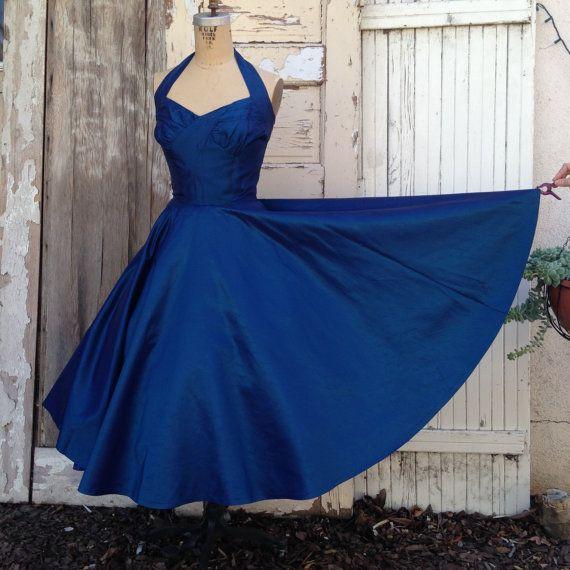 1950er Jahre Halfter Kleid / 50er Jahre Prom von frenchlaundryco