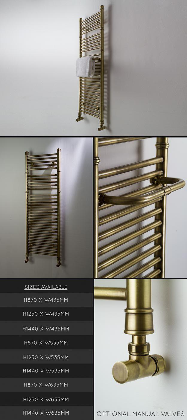 Bathroom radiators towel rails it is represent classic rectangular - Antique Brass Towel Rails And Brass Towel Radiators In A Brushed Finish And Part Of A Matching Bathroom Taps Collection