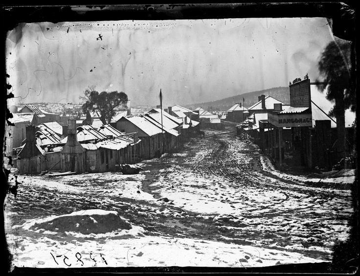 Snow, Clarke Street (looking south from Tambaroora Road), Hill End