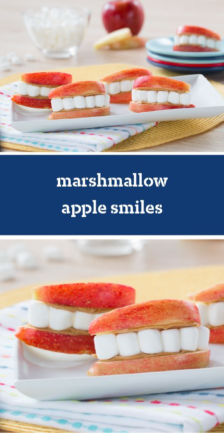 Marshmallow Apple Smiles – Your kids will be nothing but smiles when you give them this sweet snack after school! All you'll need is apples, peanut butter, and mini marshmallows—that's one easy recipe.