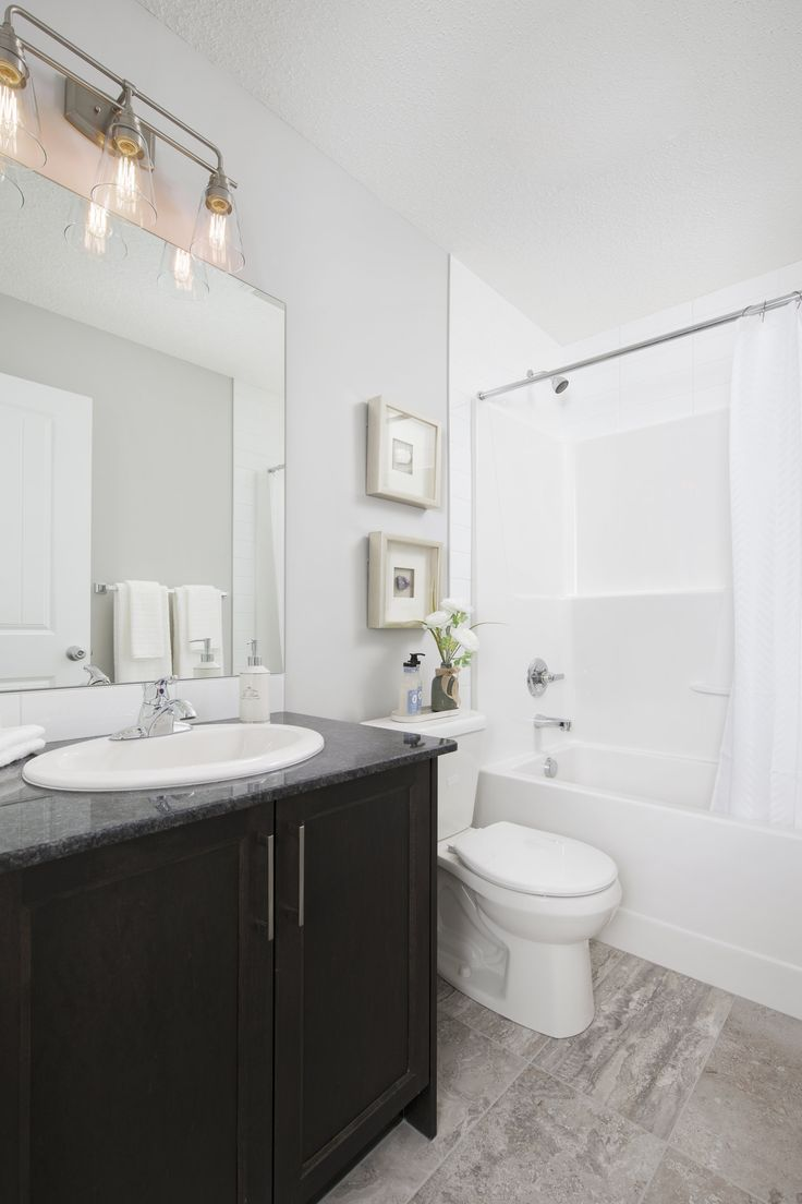 Main bath in Creations by Shane Homes Samara Showhome in Midtown in Airdrie #bathroom #bath