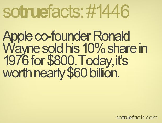Apple co-founder Ronald Wayne sold his 10% share in 1976 for $800. Today, it's worth nearly $60 billion.