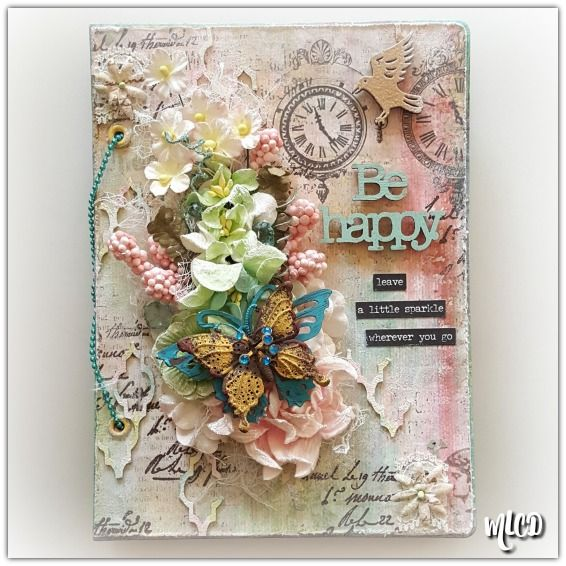 My mini Art book for March's Mixed Media Warriors challenge. #mixedmedia #shabbychic #Spring #minialbum