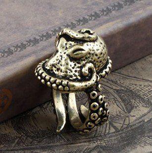 FreeShipping gift Bag Wholesale hotselling crystal Rhinestone fashion jewelry Gothic Deep sea Octopus rings Adjustable size 2086