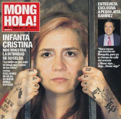 ESPAÑA: revista saca a Cristina la hija del rey entre rejas y con tatuajes