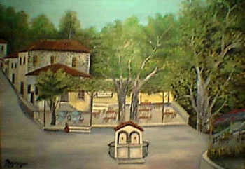 Vatousa,the entrance of the village,painting of Panagos Malamelis