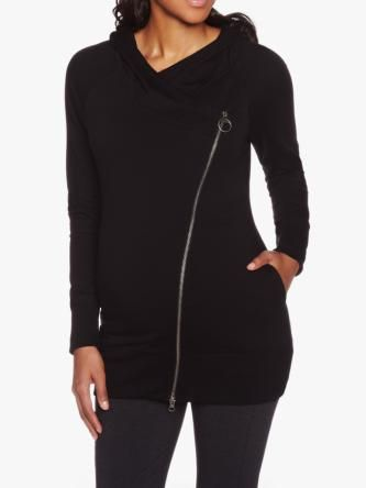 Maternity Hoodie With Asymmetrical Zipper