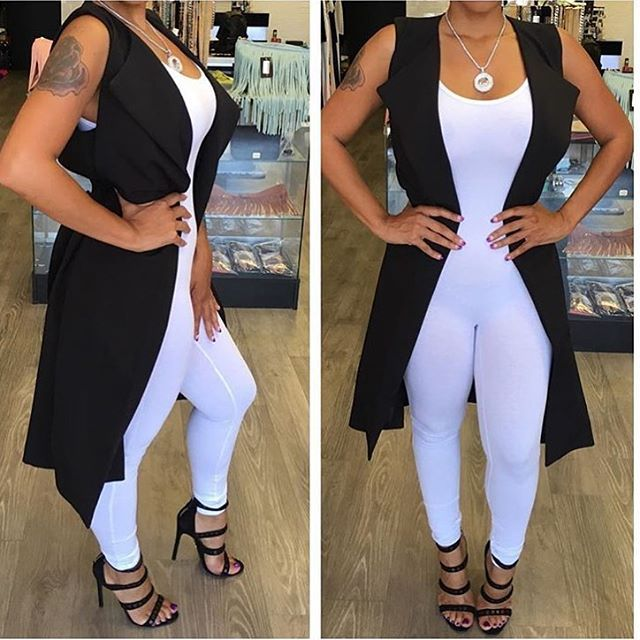 WEBSTA @ devannaloveboutique - BRAND NEW!!! White Catsuit $21.99 S-L Black Las Vegas Blv sleeveless trench $59.99 call the boutique at (702) 558-4144 or www.shopdevannalove.com