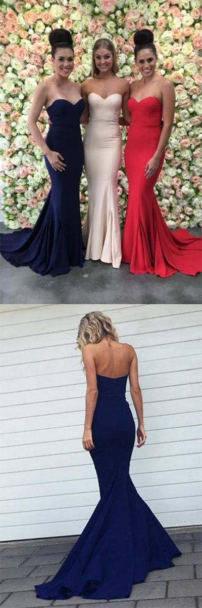 Sexy Mermaid Sweetheart Strapless Backless Sweep Train Bridesmaid Dresses uk with Pleats,#sweetheart,#newstyle,#2018,#bridesmaiddressuk,#mermaid,#red,#navyblue