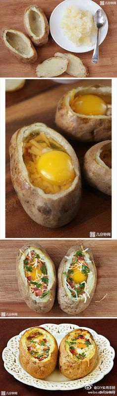Creusez votre pomme de terre une fois cuite. Cassez-y un oeuf et agrémentez de fromage, d'herbes fraîches, de sel de poivre et de tout autre topping qui vous fait envie. Laissez gratiner au four un bon quart d'heure. Il faut que l'œuf soit bien cuit.
