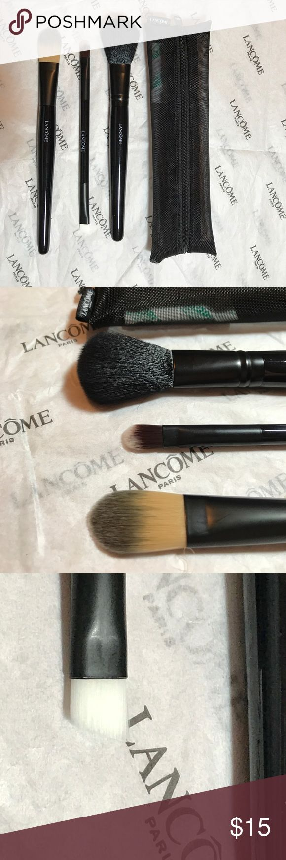 Lancome 3 piece Travel  Brush Set - Sealed-New Lancome 3pc. Travel Brush Set . You will received 3 brushes (dual -ended eyeshadow/liner, blush, foundation) with black travel case. New/Sealed/ no box Lancome Makeup Brushes & Tools