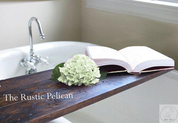 Rustic Bathtub Caddy  Wood bath tray  Rustic by RusticPelican