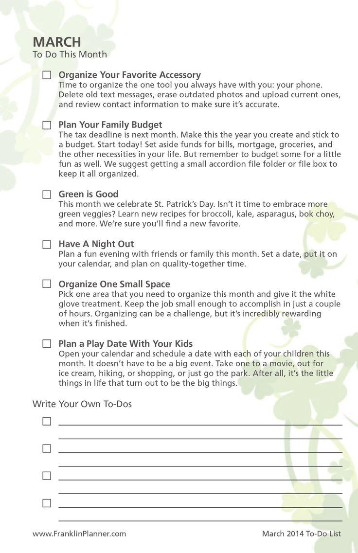 March Planner Checklist