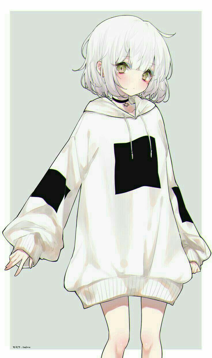 White Hair White Sweater Anime Chibi Kawaii Anime Anime
