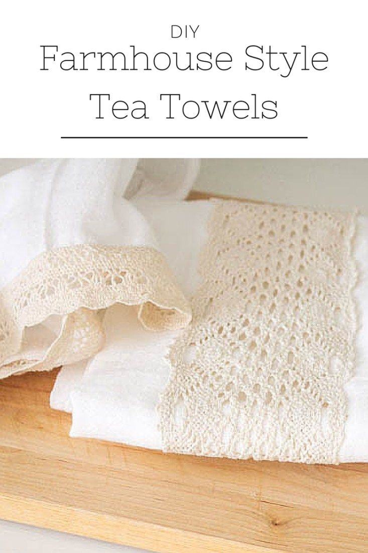 These pretty little DIY farmhouse tea towels are such an easy way to add a little shabby-chic style to your kitchen!