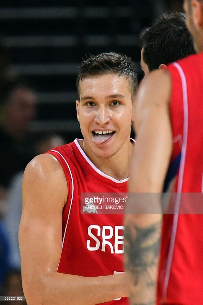 Serbia's shooting guard Bogdan Bogdanovic reacts during a Men's semifinal basketball match between Australia and Serbia at the Carioca Arena 1 in Rio de Janeiro on August 19, 2016 during the Rio 2016 Olympic Games. / AFP / Andrej ISAKOVIC