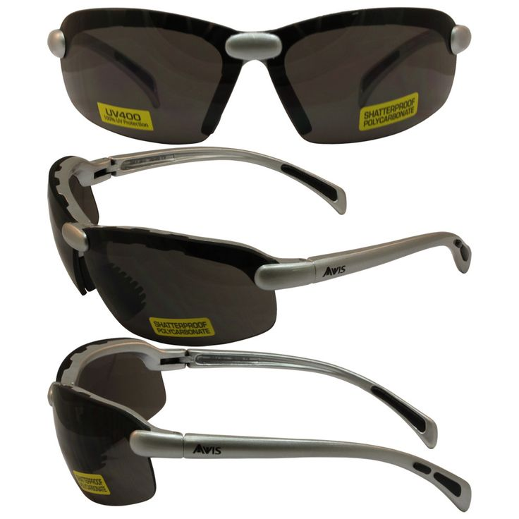 C2 Safety Shop Glasses with Silver Frame and Smoke Lenses