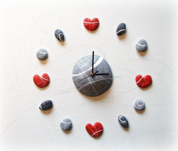 Wall clock decal kit Wedding gift Original stone hearts clock  $83     paper mache