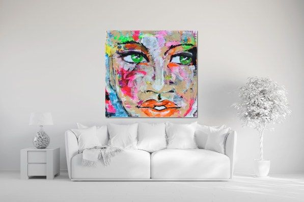 acrylic, painting, portrait, neon pink, expressive eyes, neon orange, neon green, canvas, woman's face, green eyed lady, diana linsse, modern art, modern expressionism