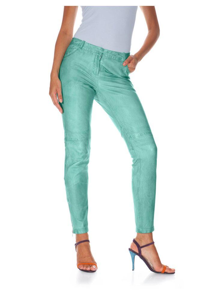 Pantalon slim en #cuir couleur menthe