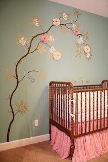 cool tree: Wall Art, Fabrics Flower, Wall Decals, Wall Murals, Girls Room, Baby Room, Baby Girls, Girls Nurseries, Nurseries Ideas