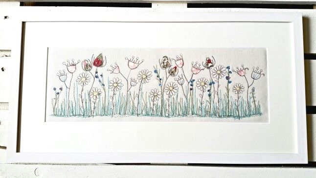 Seed head meadow flowers by Picpacnaddywak. Freemotion sewing using applique design.Framed picture .Handmade .