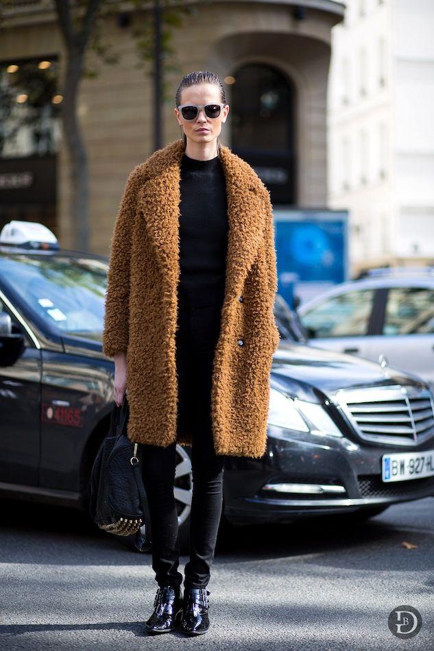 Model-Off-Duty: Mina Cvetkovic   Furry Camel Coat (via Bloglovin.com )
