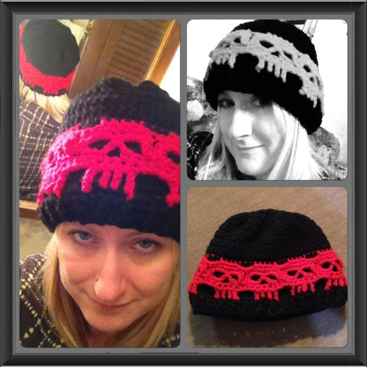Skull Band Beanie in School Colors - Crochet creation by Alana