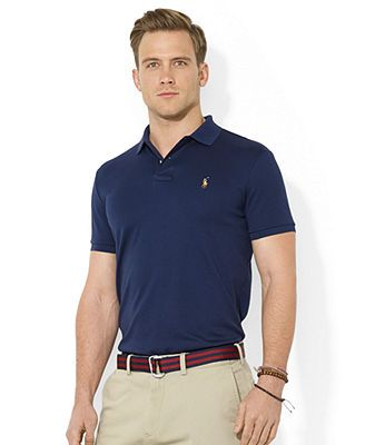 Crafted from luxurious Pima cotton, this silky polo shirt is a wardrobe essential for the modern gentleman. | Pima cotton | Machine washable | Imported | Polo Ralph Lauren men's shirt | Ribbed polo co