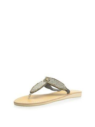 59% OFF Skemo Women's Valentina Beaded Thong Sandal (Silver/Navy)