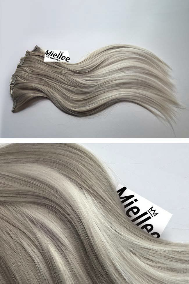 Medium Ash Blonde Balayage Full Head Clip Ins   Silky Straight Remy Human Hair