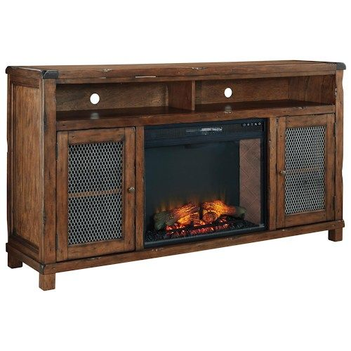 Signature Design by Ashley Tamonie Rustic Mango Veneer XL TV Stand with Electric  Fireplace Insert & - 17 Best Ideas About Large Electric Fireplace On Pinterest