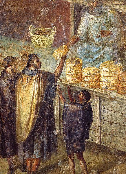 Sale of bread at a market stall.  Roman fresco from the Praedia of Julia Felix in Pompeii. Museo Archeologico Nazionale (Naples). 1st c. CE.