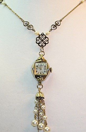 Steampunk Gruen Watch Pendant Necklace with Pearl Tassel | TimelessDesigns - Jewelry on ArtFire