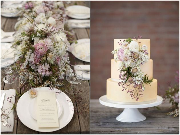 gorgeous table decor, modern menus & a simple cake decorated with fabulous florals! Nikole Ramsay Photography