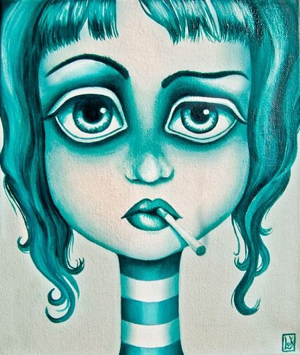 Smoke,oil on canvas by Alessandra Lux #oil #illustration #art #popsurrealism #blue