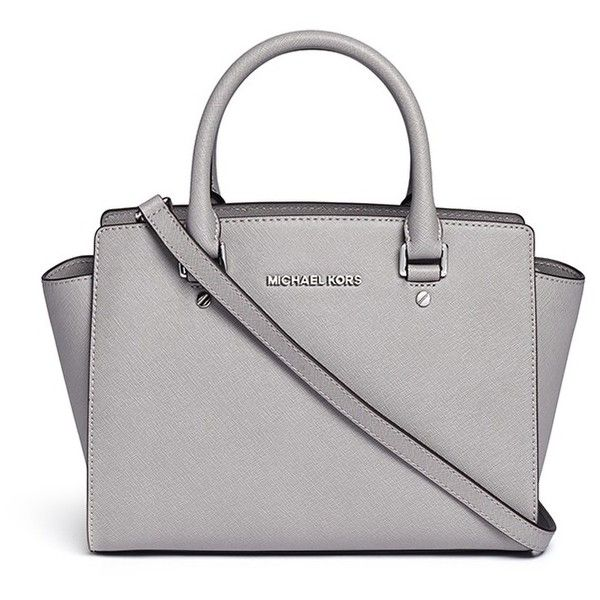 Michael Kors 'Selma' medium saffiano leather satchel (1.250 RON) ❤ liked on Polyvore featuring bags, handbags, grey, satchel bag, michael michael kors handbags, grey purse, gray satchel handbag and satchel hand bags