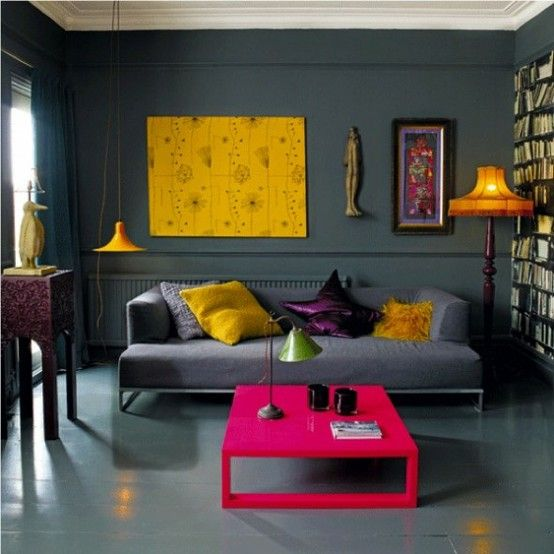 Fabulous dark, brave colour palette with warm pops of yellow - I LOVE that yellow art print!