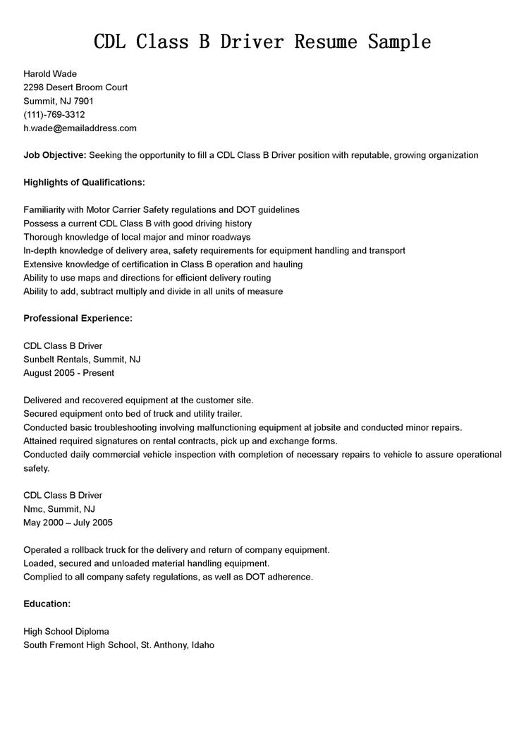 class b cdl driver resume template  u2014 best design  u0026 tips