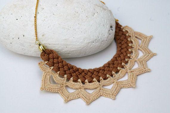 Braided  necklace Textile necklace  Crochet necklace by lindapaula  Collar trenzado con puntilla de ganchillo