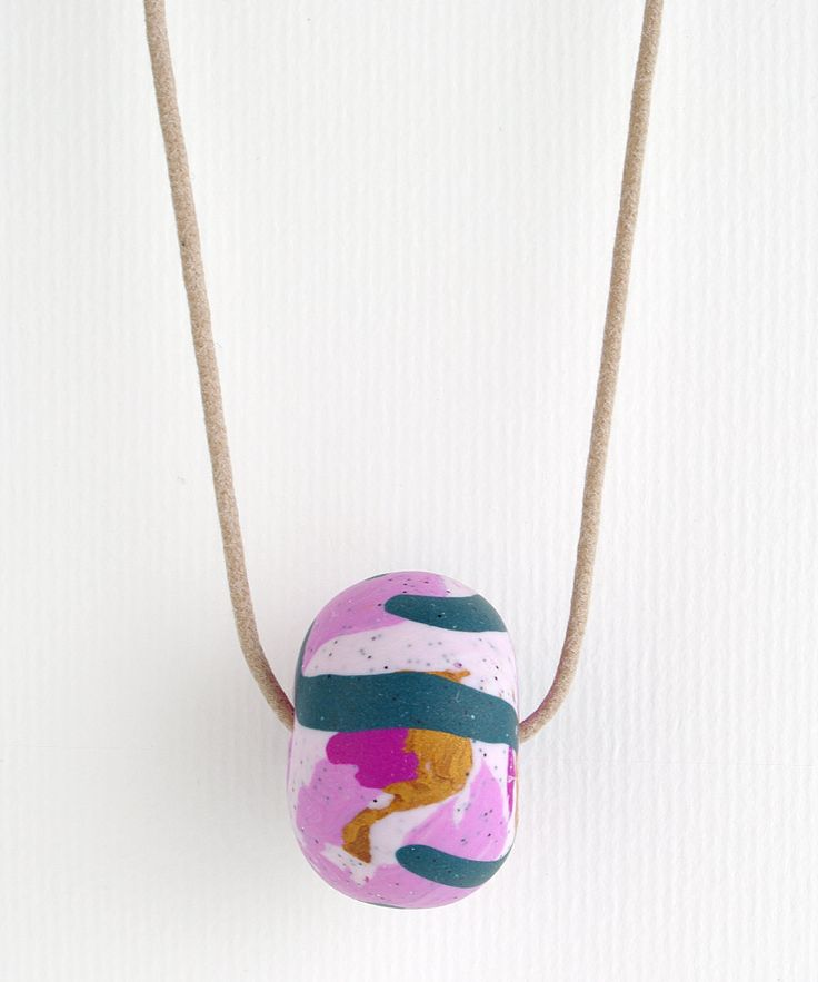 BIG BEAD Polymer Clay Necklace - Marbled pink, teal, magenta, gold by colourwork on Etsy