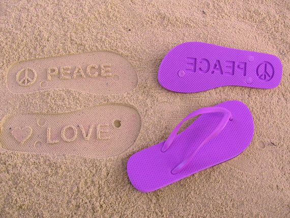 PEACE and LOVE  Sand Imprint Flip Flops by FlipSideFlipFlops, $19.95