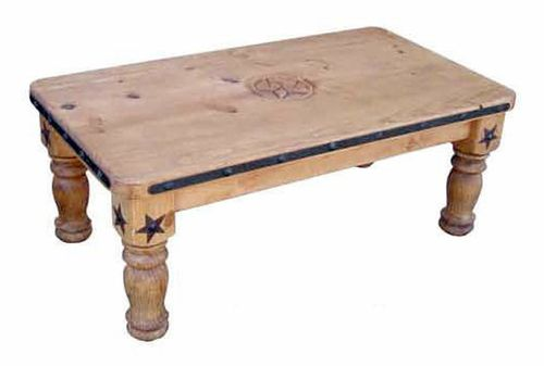 Rustic Natural Wax & Iron Coffee Table with Stars