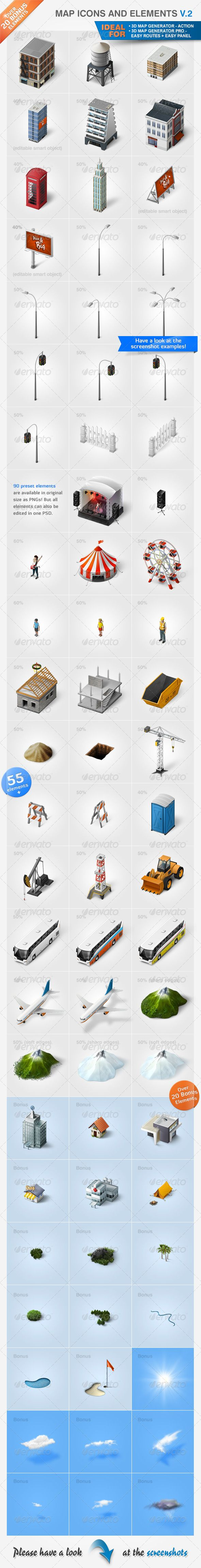 Map Icons and Elements - V.2 - Miscellaneous #Icons Download here: https://graphicriver.net/item/map-icons-and-elements-v2/2930212?ref=alena994